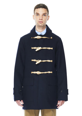 Bonded Wool Duster Coat in Navy