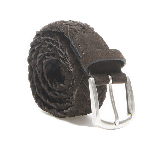 Andersons Suede Woven Belt in Brown Suede