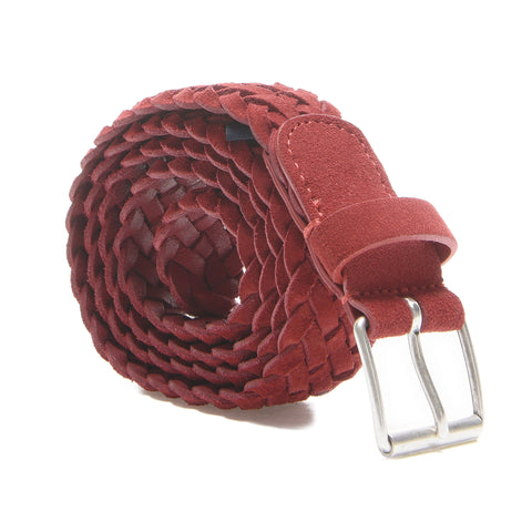 Andersons Suede Woven Belt in Red Suede