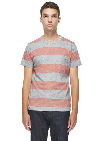 School Stripe T-Shirt in Red Orange
