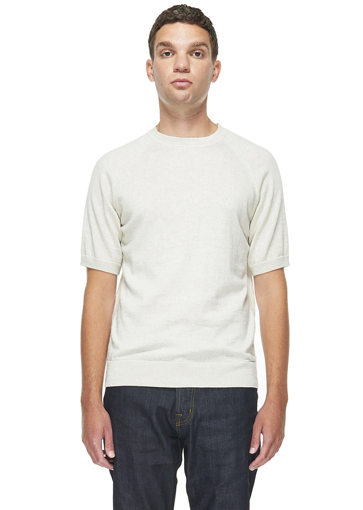 Merino Round Neck Tee in Ecru