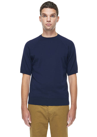 Merino Round Neck Tee in Navy