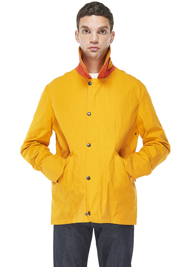 Washed Canvas Spray Coat in Yellow/Red Orange