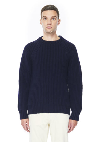 Chunky Ribbed Crew Neck in Navy