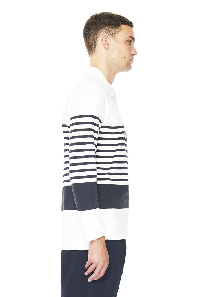 Nautical Rugby Shirt in Ecru Stripe