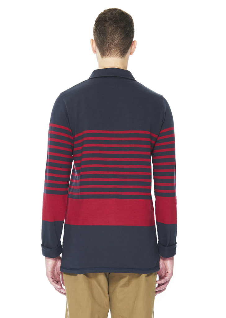 Nautical Rugby Shirt in Navy Stripe