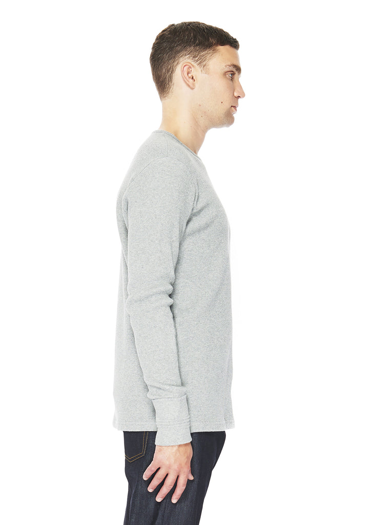 Long Sleeve Waffle T-Shirt in Grey Marl