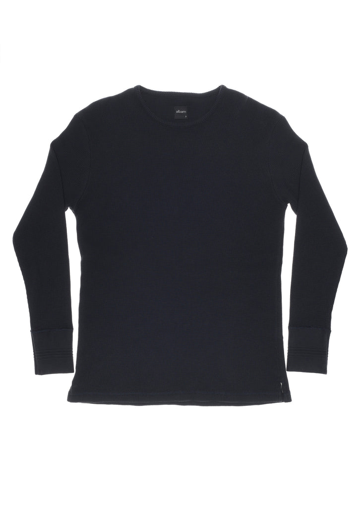 Long Sleeve Waffle T-Shirt in Navy