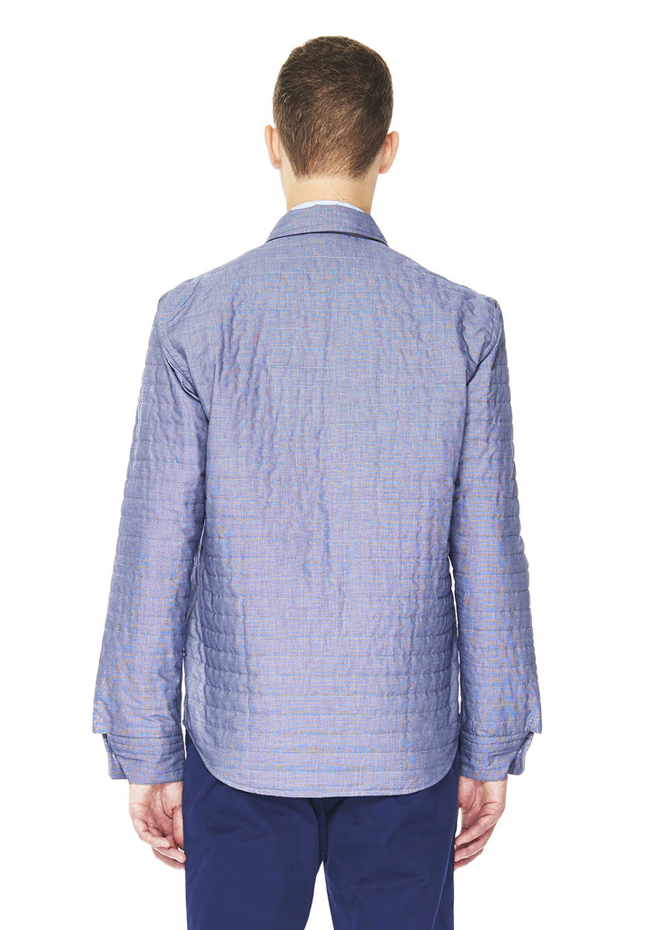 Padded Husky Shirt in Blue End on End