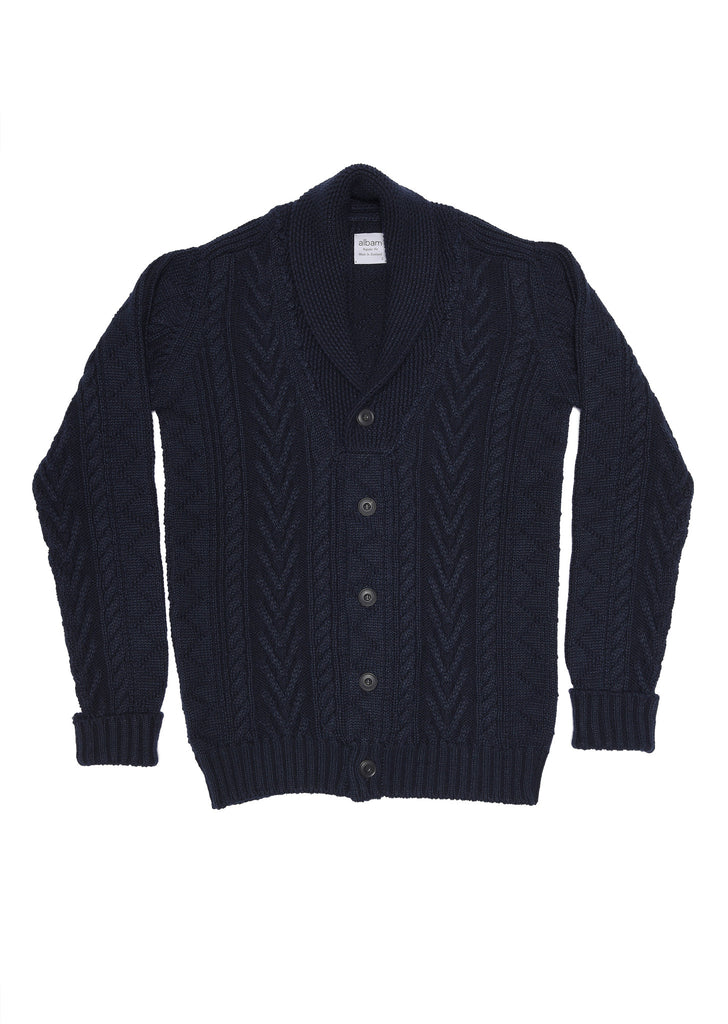 Linen Wool Cable Cardigan in Navy