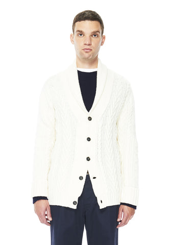 Linen Wool Cable Cardigan in Ecru