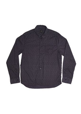 Washed Yard Shirt in Indigo Print