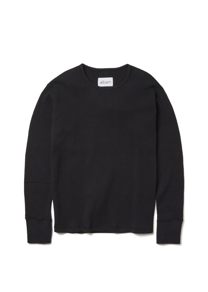 Long Sleeve Waffle T-Shirt in Jet Black