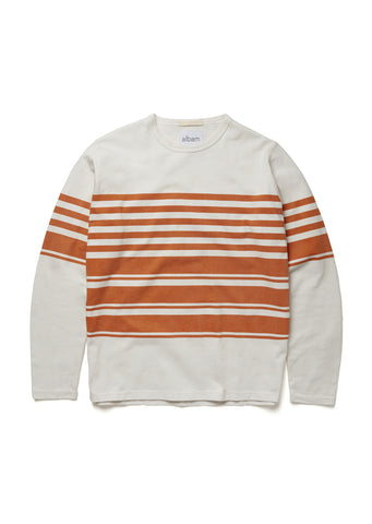 Striped Mid Weight Sweatshirt in White/Burnt Orange