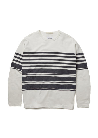 Striped Mid Weight Sweatshirt in White/Dark Navy