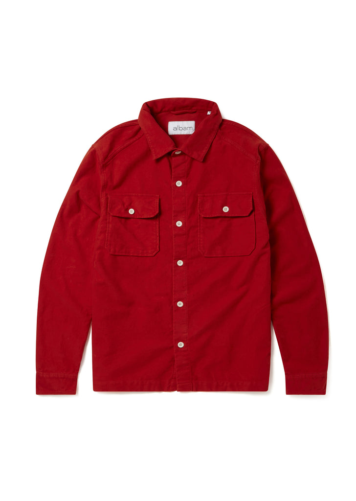 Moleskin Overshirt in Burnt Orange