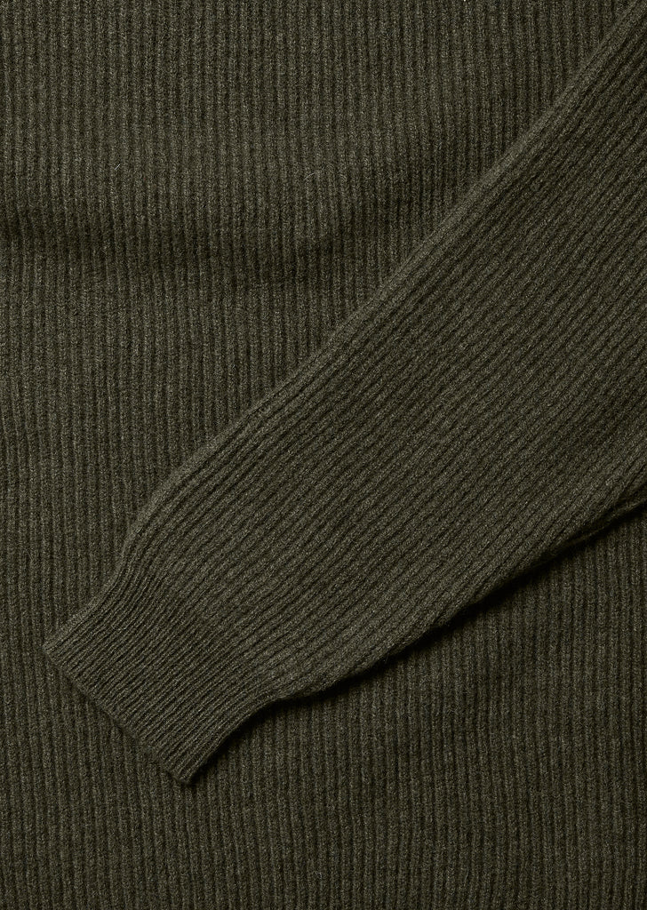 Ribbed Crew in Leaf Green
