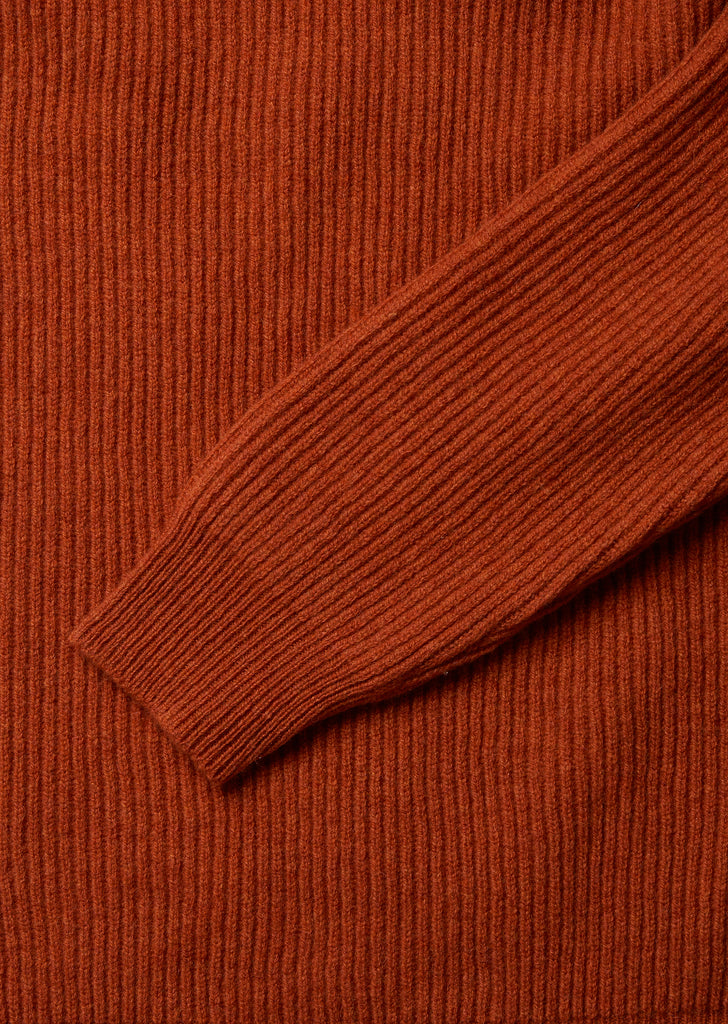 Ribbed Crew in Burnt Orange