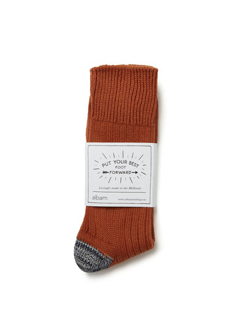 Contrast Heel Sock in Burnt Orange