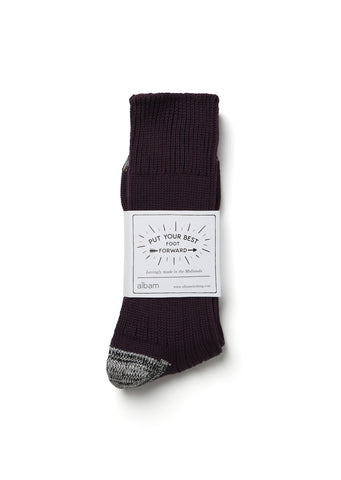Contrast Heel Sock in Plum