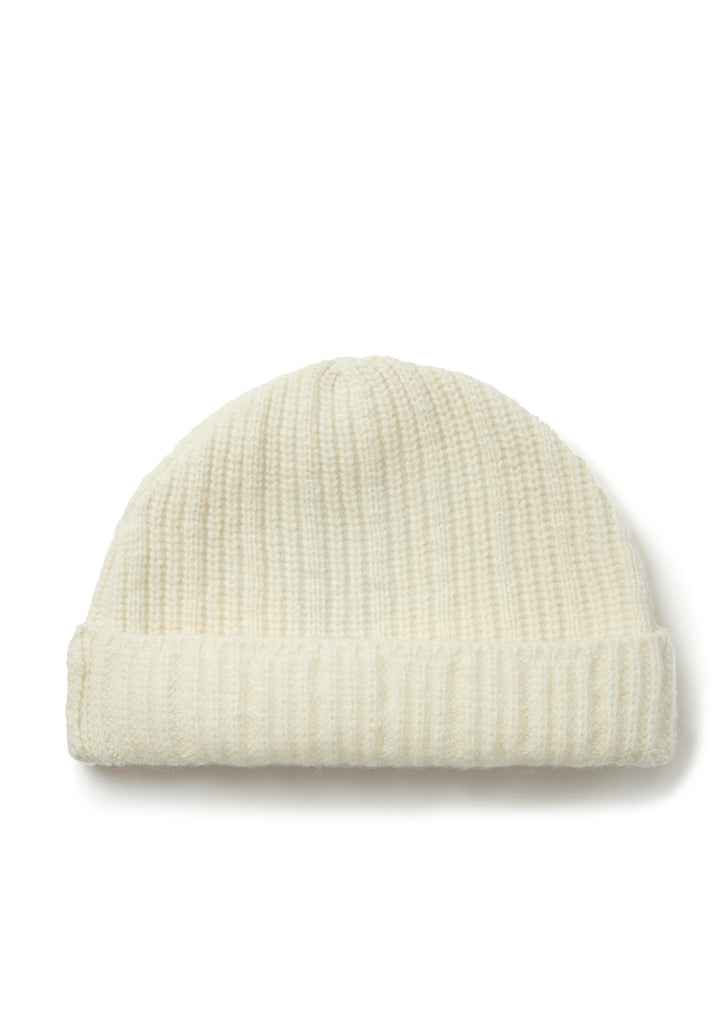 Ribbed Watch Cap in Ecru