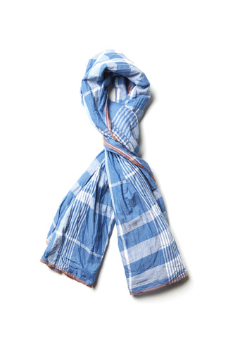 Summer Check Scarf in Blue Check