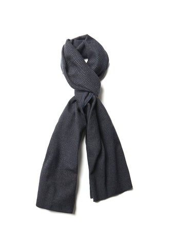 Lightweight Wool Scarf in Dark Grey Small Check
