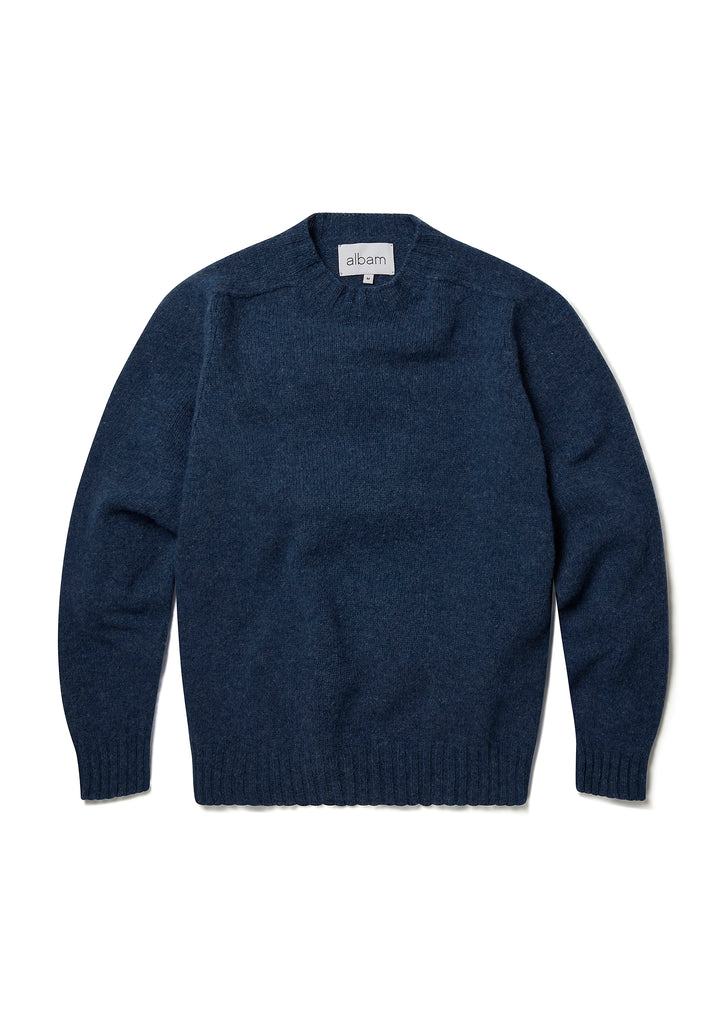 New - Seamless Shetland Crew in Jeans Blue