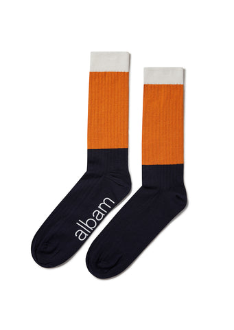 Colour Block Sock in White/Burnt Orange/Navy