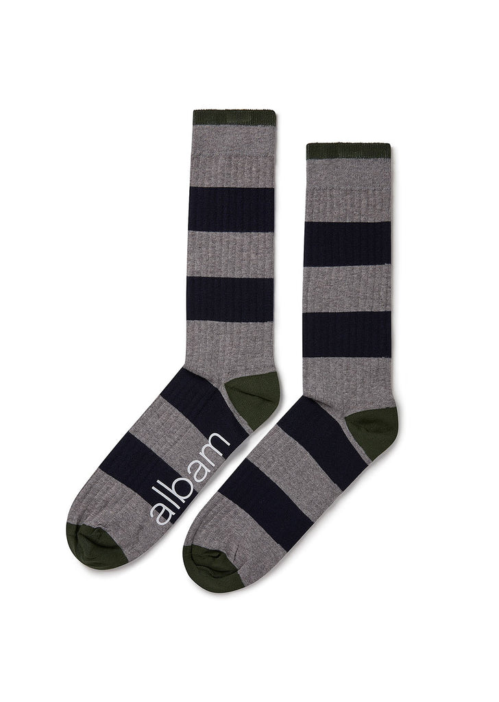 Stripe Sock in Grey Marl/Navy/Pine Green