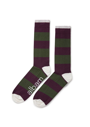 Stripe Sock in Mulberry/Pine Green/White