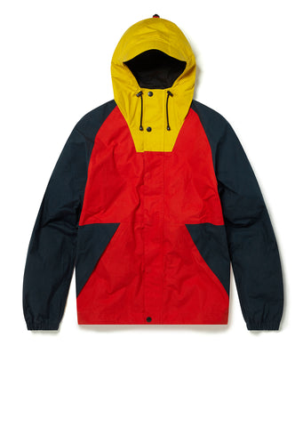 Colour Blocked Trail Parka in Red