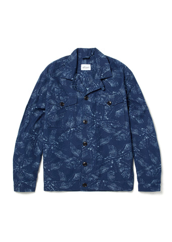 Italian Print Blouson Shirt in Navy