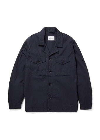Seersucker Blouson Shirt in Navy
