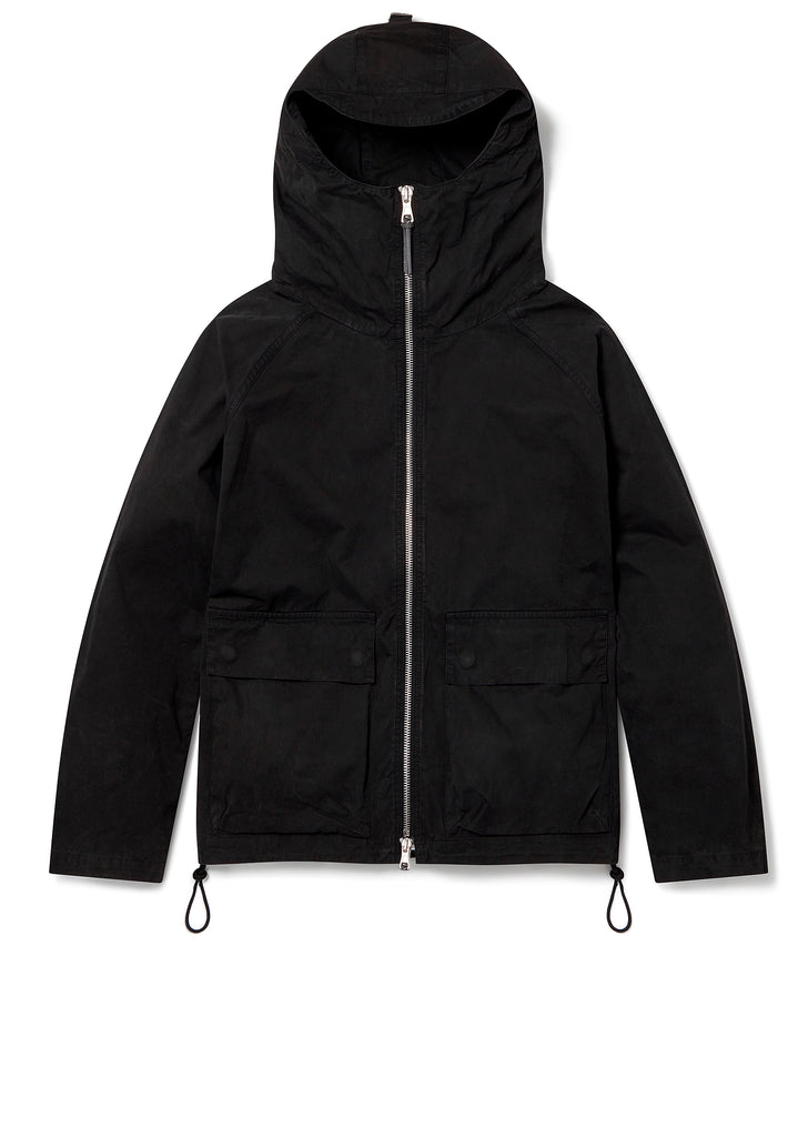 Zipped Hooded Parka in Black