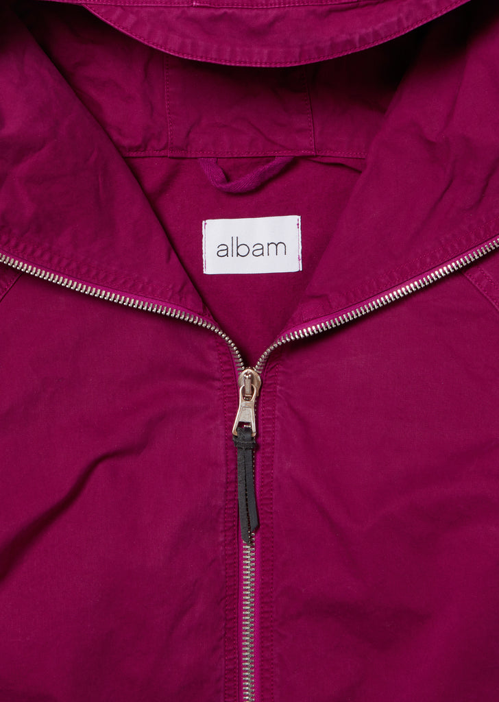 Zipped Hooded Parka in Raspberry