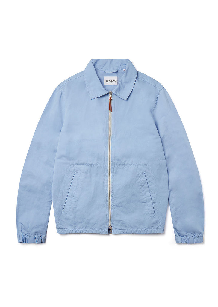 Linen Blend Harrington Jacket in Light Blue