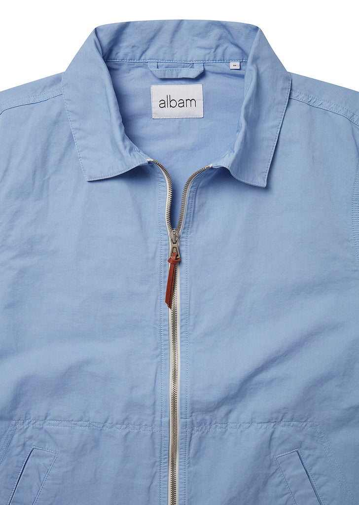 Linen Blend Harrington in Light Blue
