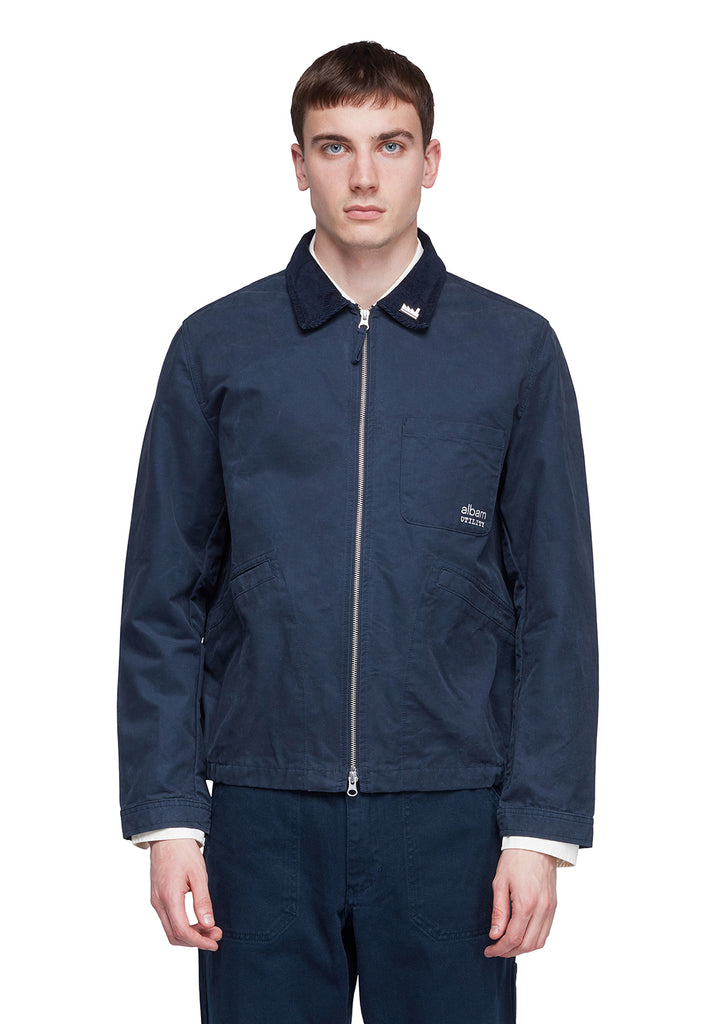 Utility Canvas Harrington Jacket in Navy