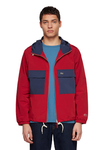 Utility Synthetic Cagoule in Berry/Navy