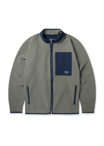 Utility Polar Fleece Track Top in Overall Green