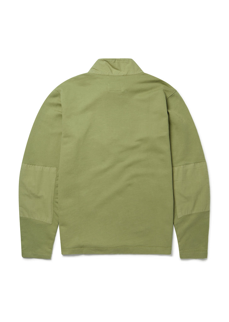 Zipped Jersey Pullover in Dried Herb