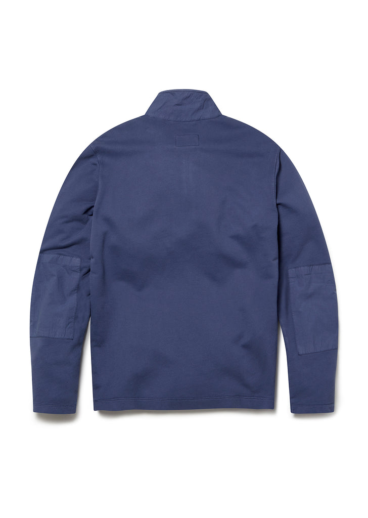 Zipped Jersey Pullover in Indigo