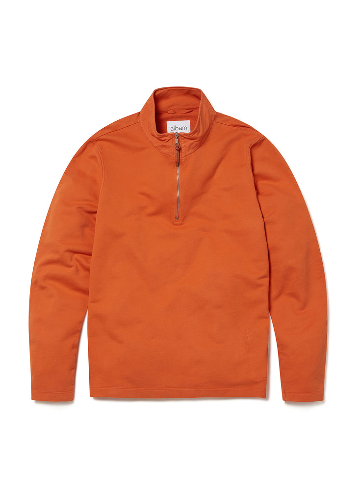 Zipped Jersey Pullover in Burnt Orange