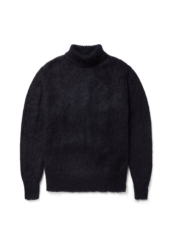 Mohair Funnel Neck in Navy