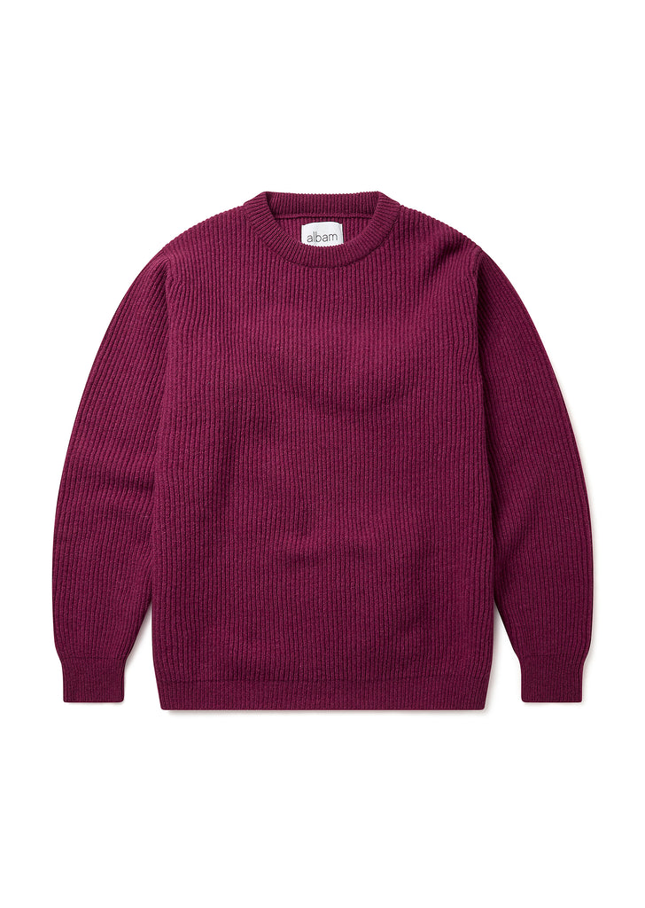 Ribbed Crew Neck in Rosehip Maroon