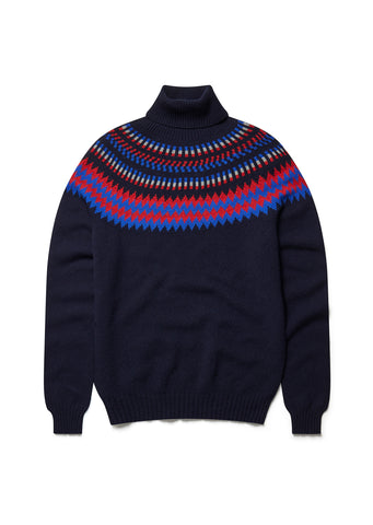 Seamless Yoke Fair Isle Sweat in Navy