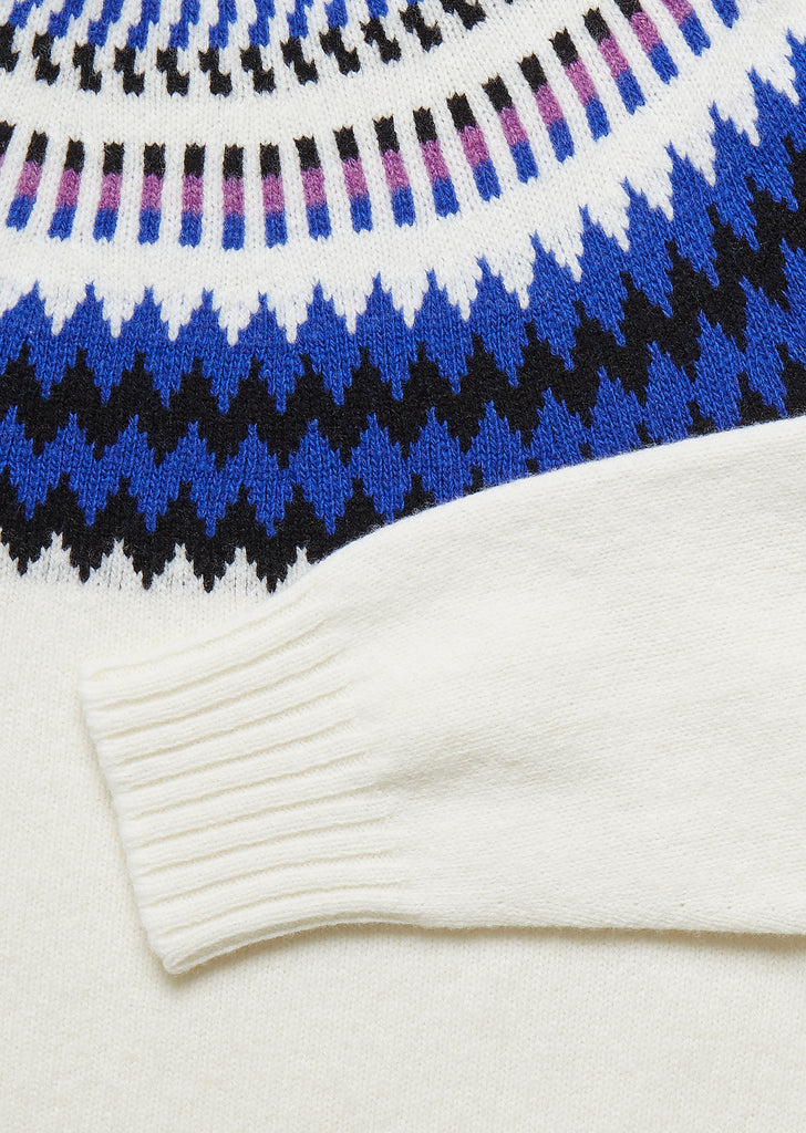 Seamless Yoke Fair Isle Sweat in Ecru