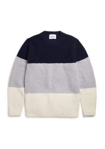 Colour Block Waffle Stitch Sweater in Navy/Grey