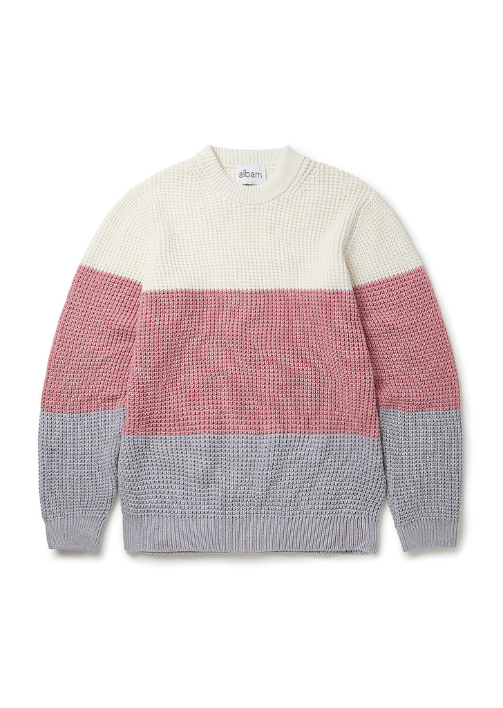 Colour Block Waffle Stitch Sweater in Ecru/Pink